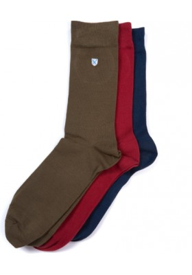 Męskie skarpety-Barbour Saltire 3 Pack Socks