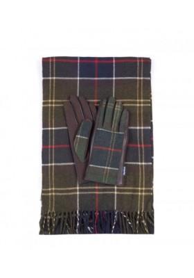 Damski komplet-Barbour Tartan Scarf/Gloves
