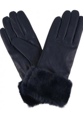 Damskie rękawice-Barbour Fur Trimmed Leather Gloves